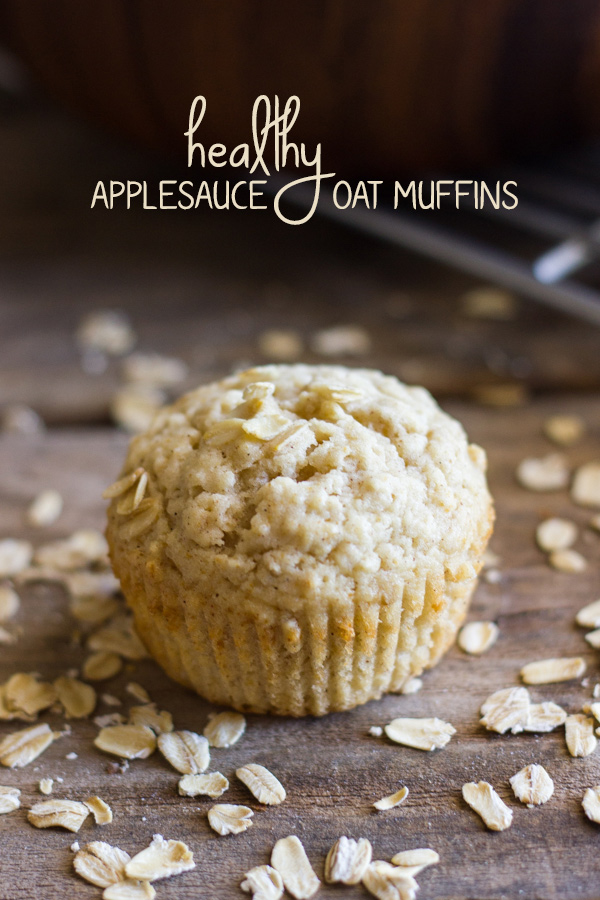 Made with lots of oats, applesauce, Greek yogurt, and coconut oil, these muffins are a good way to start the day!