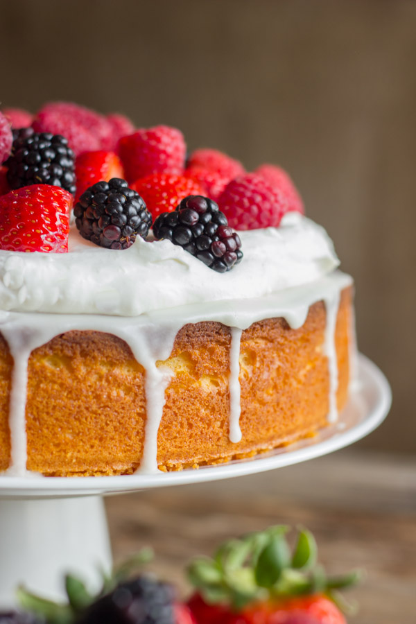 Starts with a yellow cake mix, and lightened up with Greek yogurt.