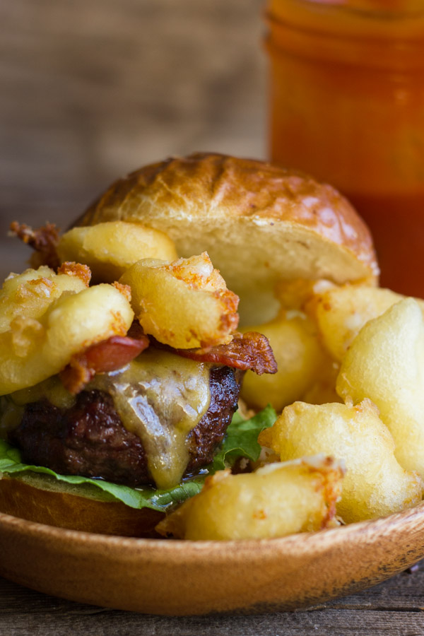 Western Bacon Sliders With Fried Cheese Curds - burger + bacon + fried cheese curds = most amazing burger I've ever made!