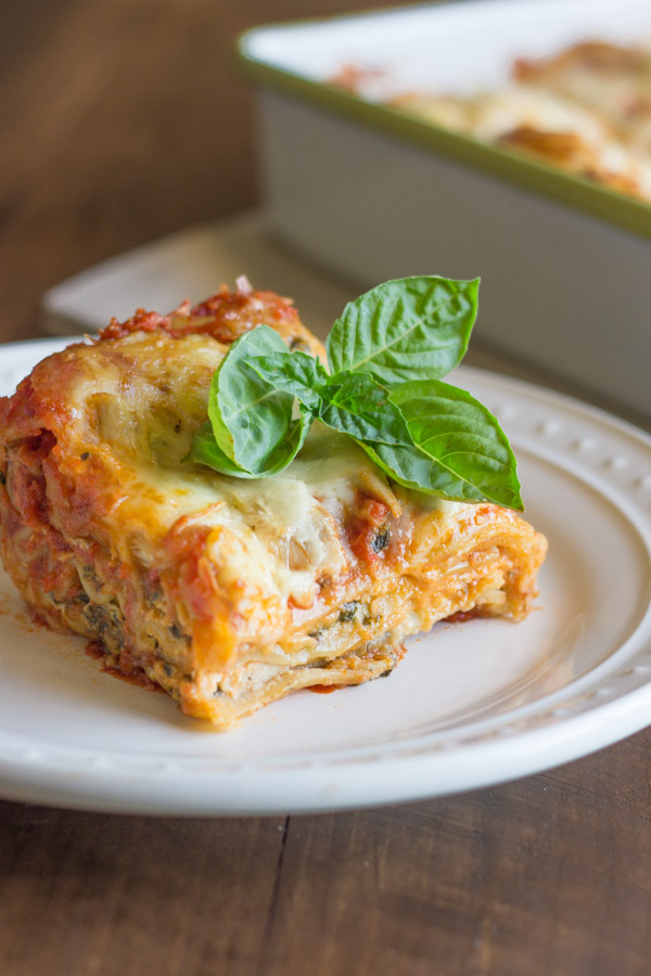 Spinach and Artichoke Chicken Lasagna - A delicious twist on traditional lasagna with three shortcuts!