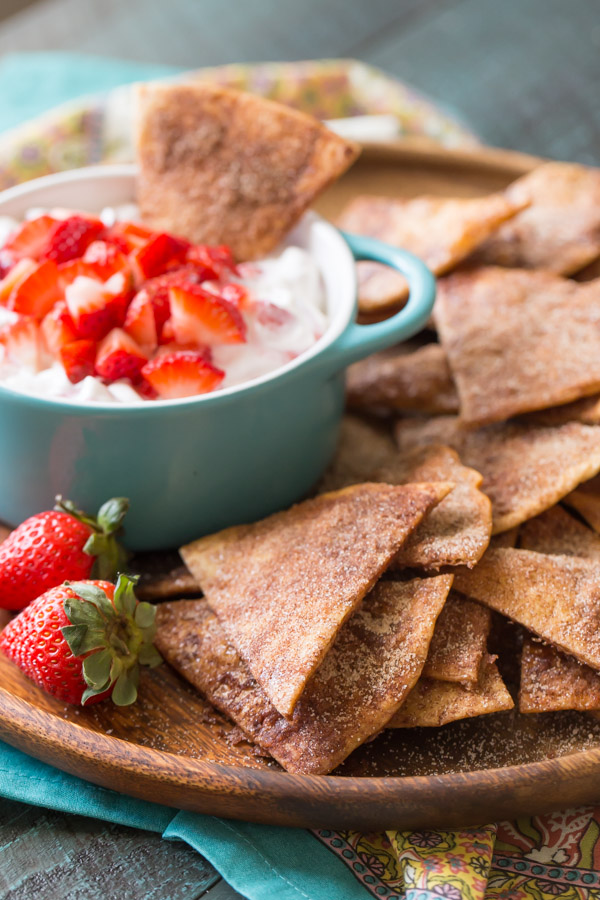 Baked Cinnamon Crisps With Creamy Strawberry Dip - Reminiscent of those crispy, cinnamon sugary chips I used to get from Taco Bell as a kid, but baked instead of fried!
