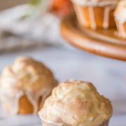 These Maple Glazed Donut Muffins are easy to make, fun to glaze, and have the texture of a cake donut!