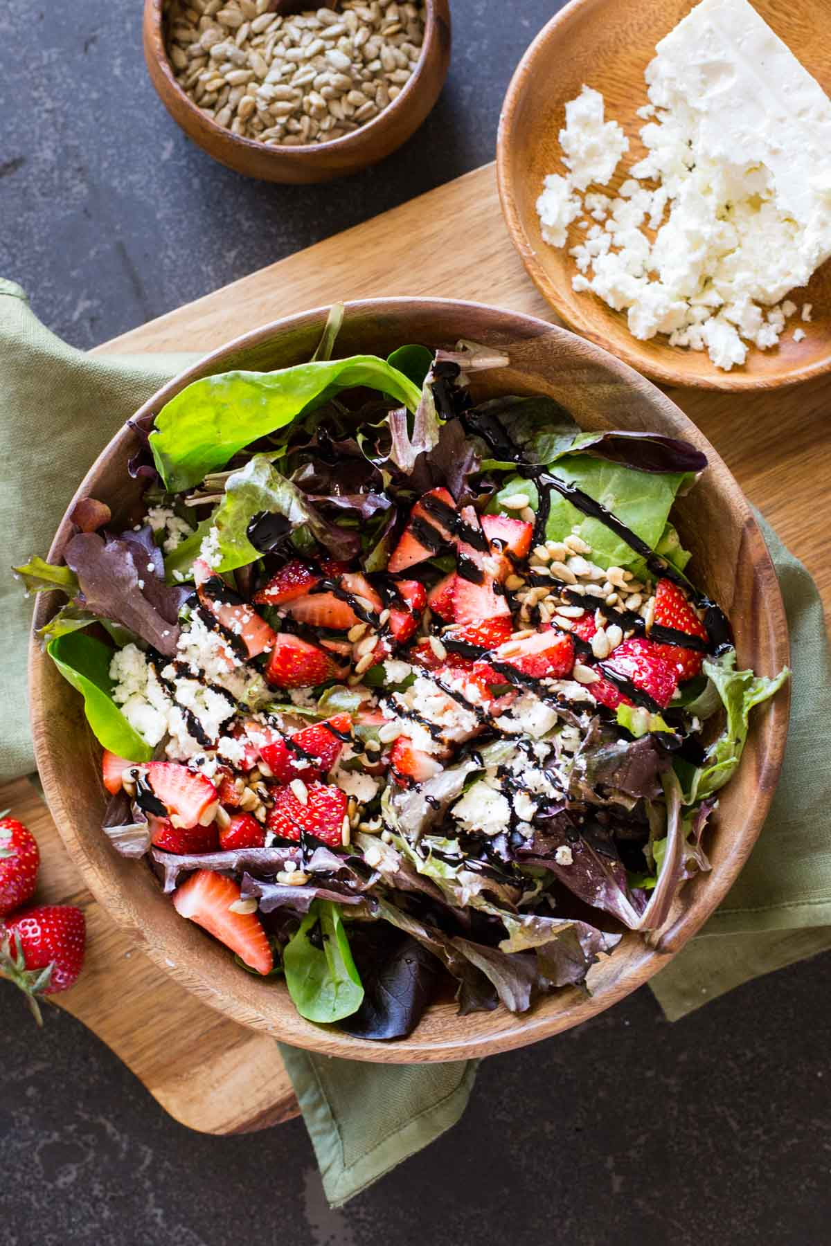 This Easy Strawberry Balsamic Salad has sweet, crunchy, and tangy all working together to make a party in your mouth. You'll love it!